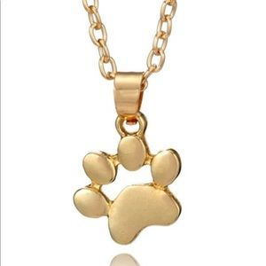 Jewelry - Dog Foot Print Necklace Gold Tone